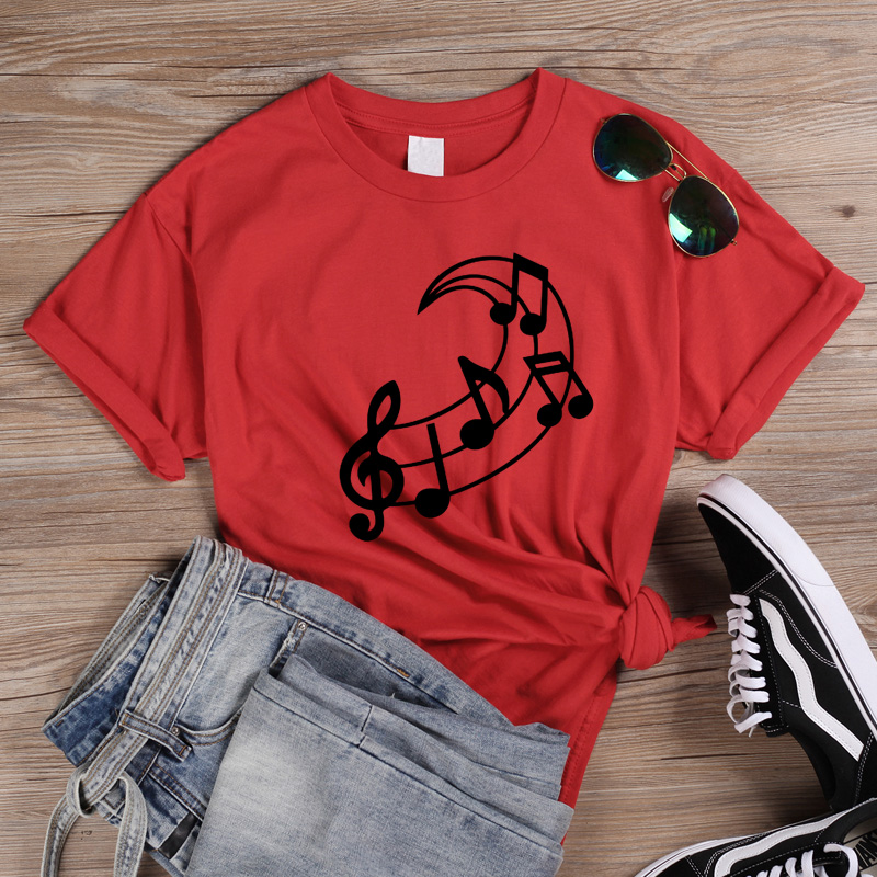 ONSEME Music Note Moon <font><b>Graphic</b></font> Tees Women Clothes 2019 Summer Short Sleeve Teacher <font><b>tshirt</b></font> <font><b>Aesthetic</b></font> Clothes Top for girls Q-921 image