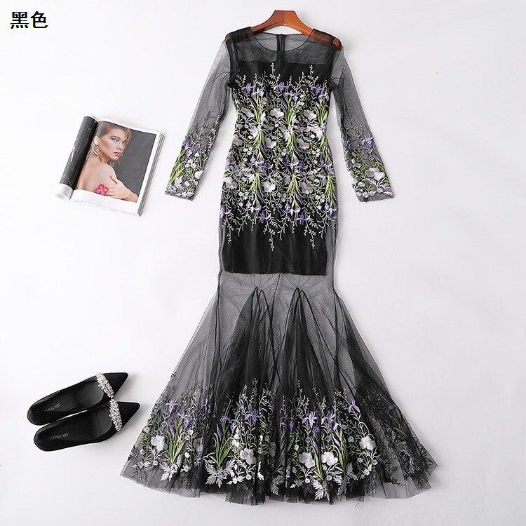 New  221870 women s spring collar zipper long sleeved super long embroidered dress
