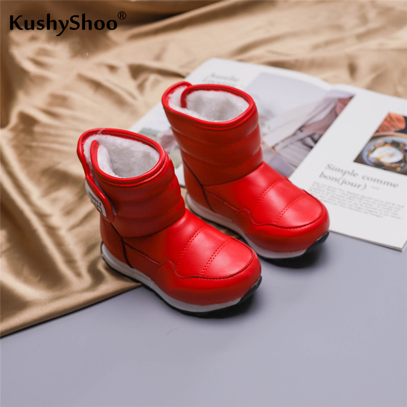 KushyShoo Winter Boots For Girls Thick Children's Snow Boots Waterproof Warm Cotton Shoes For Kids 2019 New Botas De Nieve
