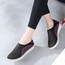 Women's Mesh Flat shoes patchwork slip-on Cotton Casual shoes for woman Walking Stripe Sneakers Loafers Soft Shoes zapato(China)
