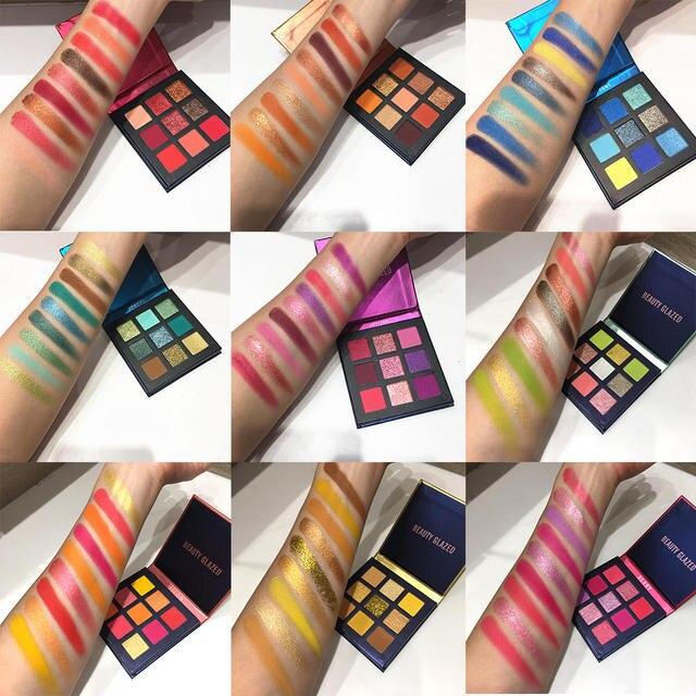 Schönheit Glasierte Make Up Lidschatten Pallete make up pinsel 9 Farbe Schimmer Pigmentierte Lidschatten Palette Make up Palette maquillage