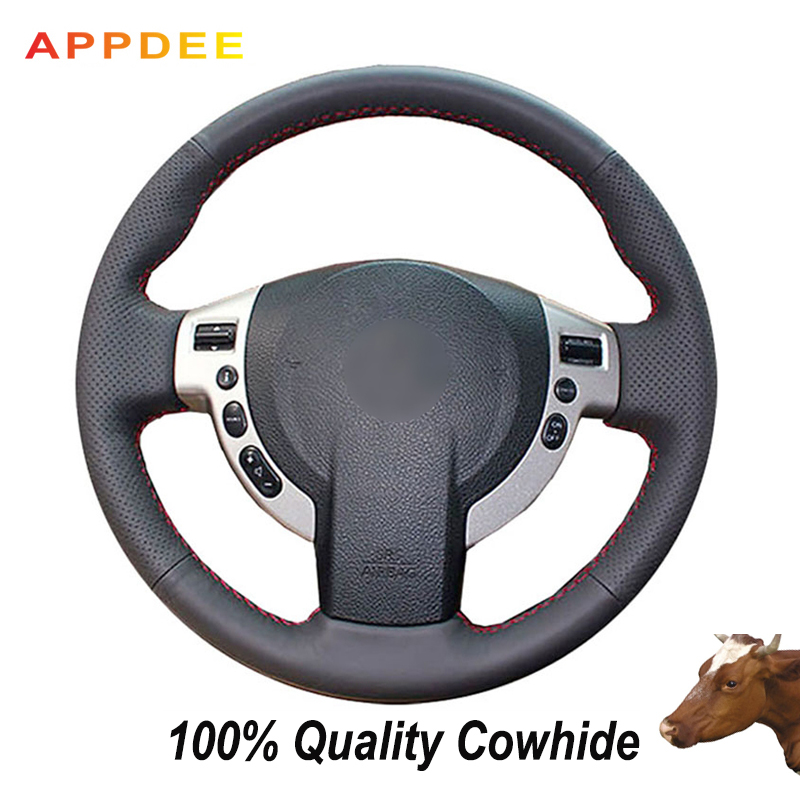 APPDEE Black Genuine Leather Car Steering Wheel Cover for Nissan QASHQAI X-Trail NV200 Rogue
