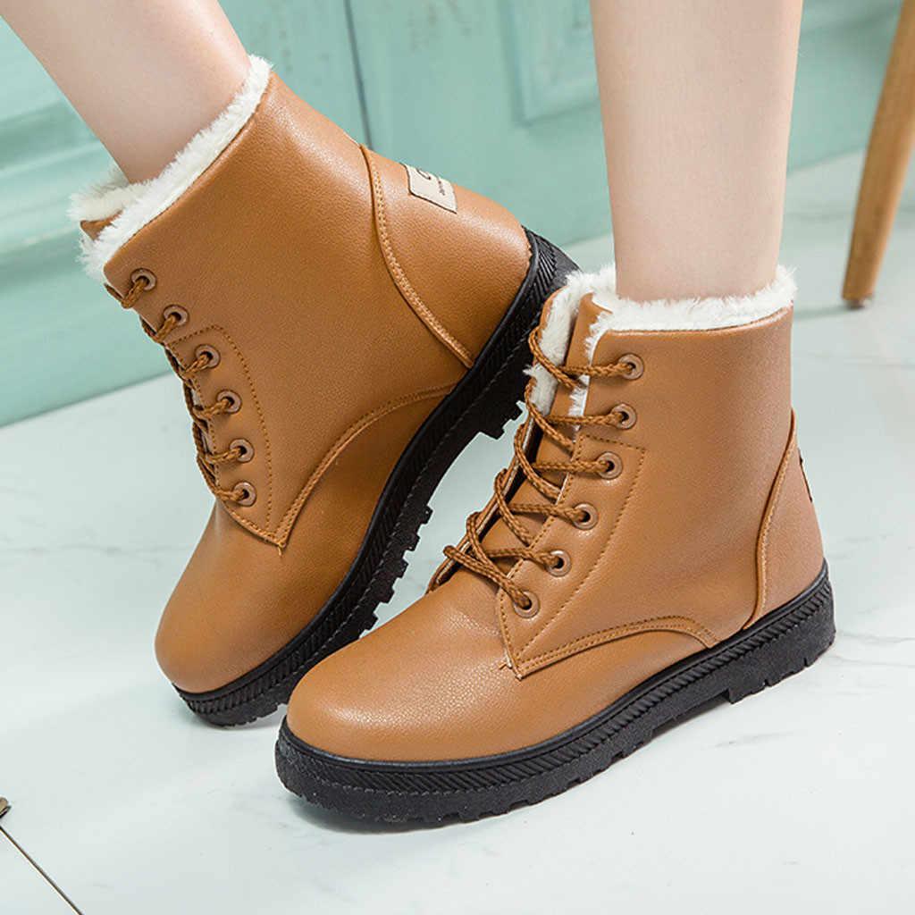 Phụ Nữ Plus Nhung Cổ Chân Boot Chắc Chắn Phối Ren Mắt Cá Chân Giày Mũi Tròn Giày Người Phụ Nữ Mùa Đông Ủng Giữ Ấm giày Bốt Martin