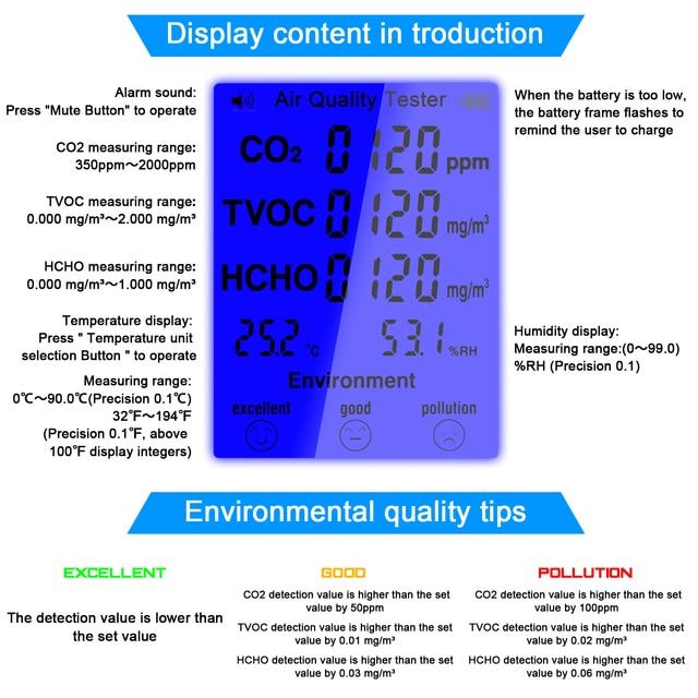 Multifunctional CO2 Meter co2 Sensor Air Quality Monitor TVOC Meter Carbon Dioxide Sensor Temperature Humidity Measuring Device