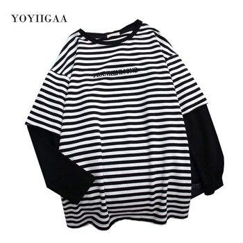 Striped T Shirt Women Tops Patchwork Fake 2 Piece Woman T-Shirt New Women's Tops Tee Shirt Long Sleeve T-shirts O-neck Women Top cutout neck bell sleeve striped tee