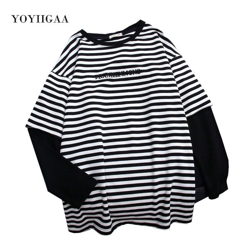 Feminina de Manga Camiseta Listrada Feminina Peças Blusa Longa Top Feminino Gola Redonda 2
