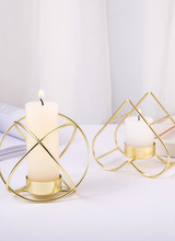 Retro Classic Candle Three-legged Holder Geometric Candlestick Metal Wrought Iron Home Decoration Accessories