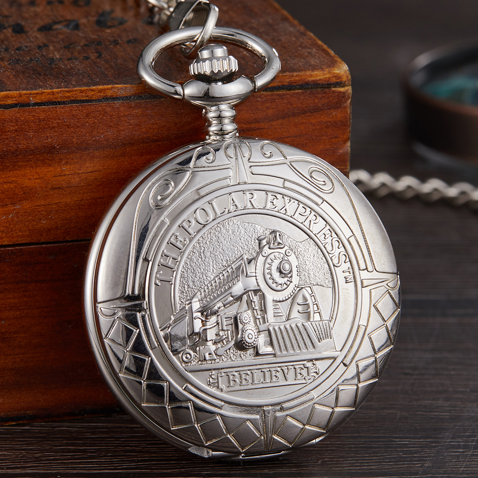Train Carving Mechanical Pocket Watch Car Design Men Bronze Clock Hand Wind Roman Numerals Engraved Fob Watches With Gift Box
