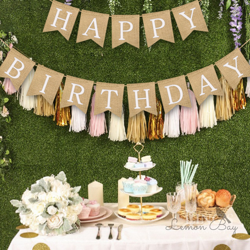 Birthday Banner Boy Girl Dining Chair Pull Flag Flower Wall Decoration Supplies Birthday Party Decoration Kids Room Party Decor