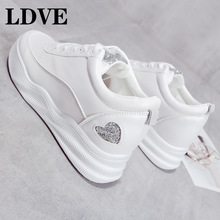 white and beige Daddy Shoes Women Vulcanized Woman Autumn Lace Up Platform Sneakers Female Trainer