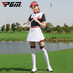 Barra di TRAINO PGM Golf Delle Donne Insieme Dei Vestiti Gonna + Golf T Shirt Manica Corta Donne di Azione di Sport a Blocchi di Colore per L'abbigliamento Sportivo Golf vestiti da Tennis