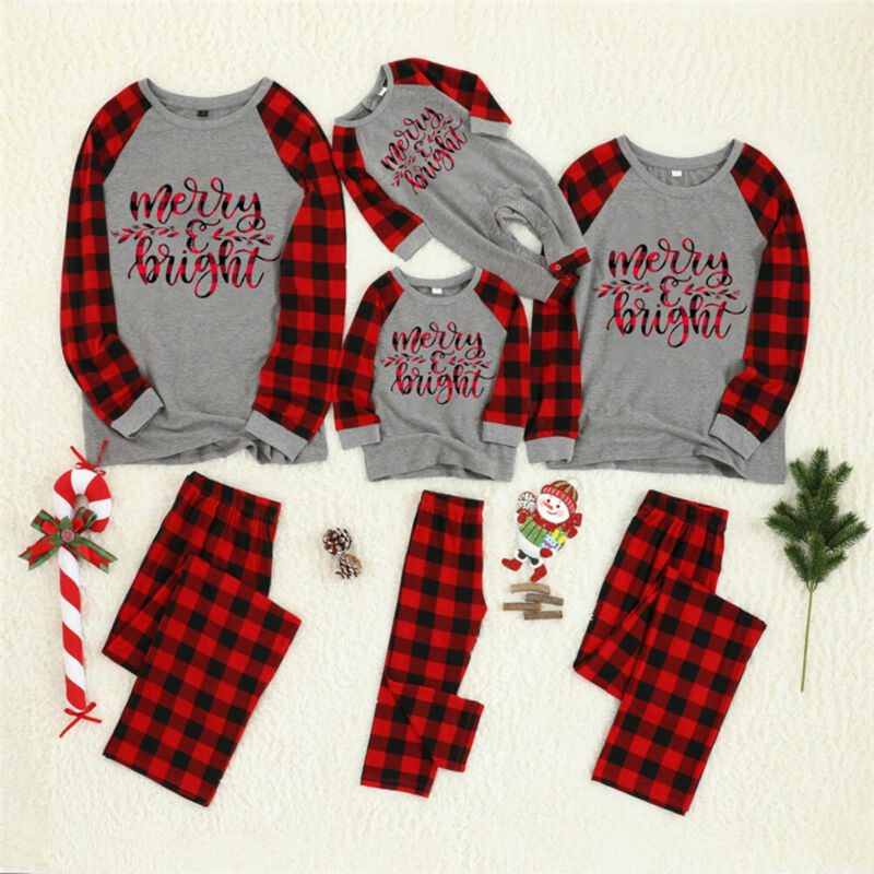 Christmas Family Pajamas Plaid Matching Sleepwear Clothes Outfits Look Father Mother Kid & Baby Nightwear Christmas Pyjamas Sets