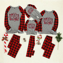 Christmas Family Pajamas Plaid Matching Sleepwear Clothes Outfits Look Father Mother