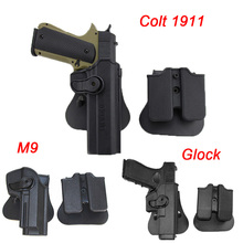 IMI Tactical Airsoft Gun Holster For Glock 17 19 Colt 1911 Beretta M9 Hunting Military Pistol Case Waist With Magazine Pouch