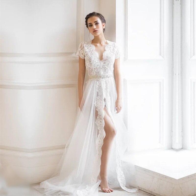 White Long Boudoir Dress Eyelashes Lace Tulle Brides Dress Nightwear Sexy Women Sleepwear Short Sleeve Tulle Long Night Dress