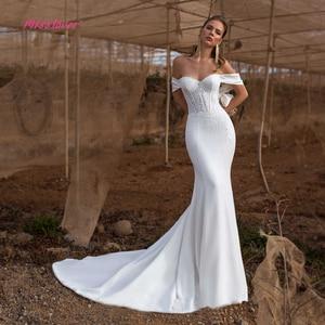 Image 1 - Simlple Weiche Satin Vestido de noiva spitze Meerjungfrau Braut Hochzeit Kleid 2019 neue Brautkleid mit Luxus Kristall und Perlen