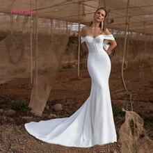 Simlple robe de mariée en Satin souple, robe de mariée sirène, avec cristaux et perles, nouvelle collection 2019