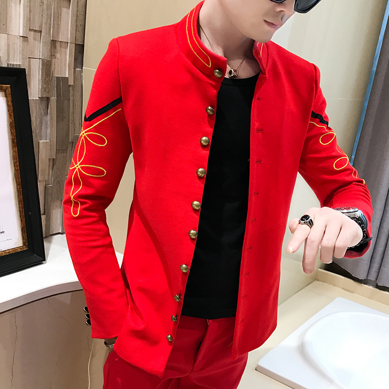 4 Color Gold Button Chinese Collar Blazers Slim Fit Mens Pattern Army Pilot Jacket Men Black Blue Red White Blazer
