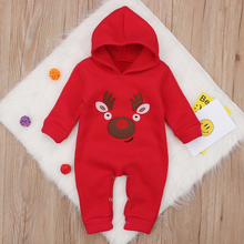 Newborn Hooded Thicken Romper Infant Baby Boy Girl Autumn Winter Long Sleeve Jumpsuit Cotton Toddler Christmas Party Clothes