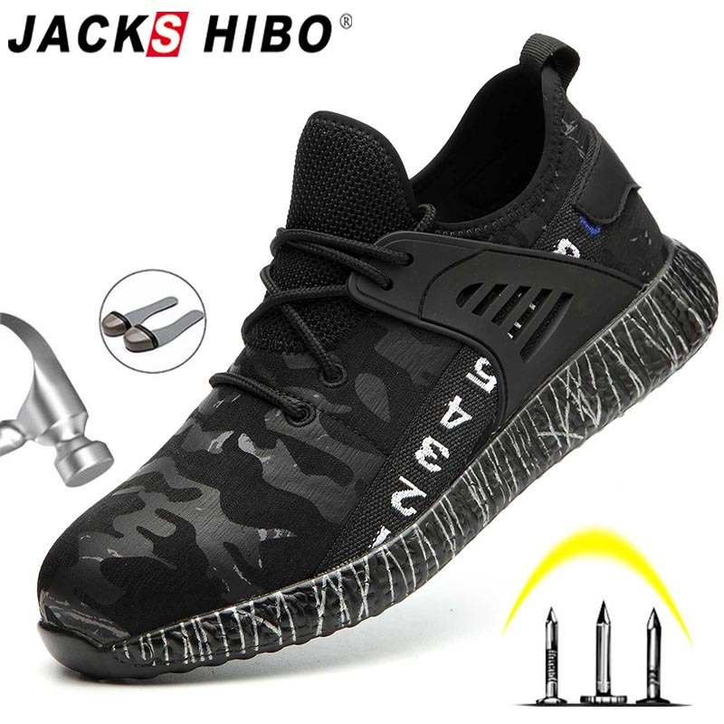 JACKSHIBO Safety Work Shoes Boots For Men Male Anti-Smashing Steel Toe Cap Boots Construction Shoes Safety Boots Work Sneakers