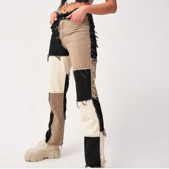 Streetwear patchworkowe dżinsy ze wstawkami w różnych kolorach długie spodnie damskie wysokiej talii dżinsy workowate zgrywanie dżinsy dla mamy kobieta casualowe spodnie jeansowe tanie i dobre opinie Tlothes COTTON Poliester spandex Pełnej długości CN (pochodzenie) Wieku 16-28 lat denim pants women High Street Plaid