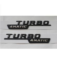 Black 2 TURBO 4MATIC letters trunk emblem sticker for  AMG