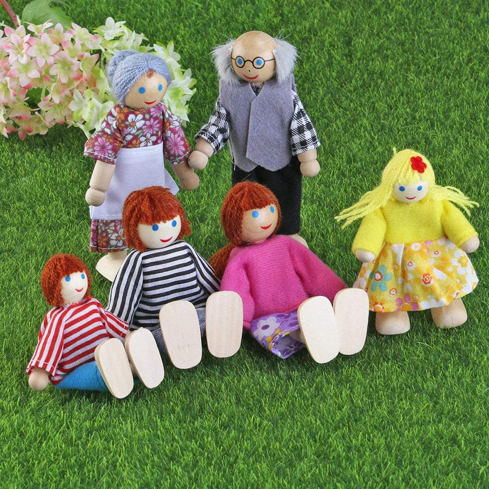 Cute Poseable Mini People Action Figures Wooden Happy Family Dressed Puppet Flexible Doll Kids Toy Birthday Gift For Children
