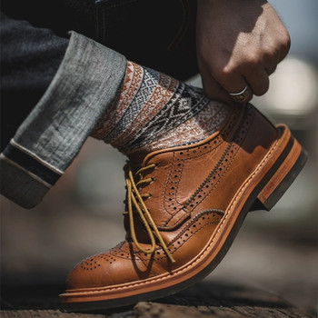 Yomior Vintage Handmade Men Casual Shoes Genuine Leather Round Toe Dress Ankle Boots Tooling Wedding Brogue Motorcycle Boots haraval handmade winter woman long boots luxury flock round toe soft heel shoes elegant casual warm retro buckle solid boots 289