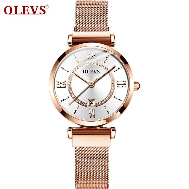 2020 OLEVS Dress Women Watch Luxury Rose Gold Ladies Wristwatches Japan Imports Quartz Movement Watches Relogio Feminino gifts
