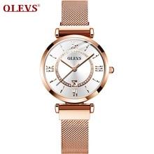 2020 OLEVS robe femmes montre de luxe en or Rose dames montres japon importations Quartz mouvement montres Relogio Feminino cadeaux