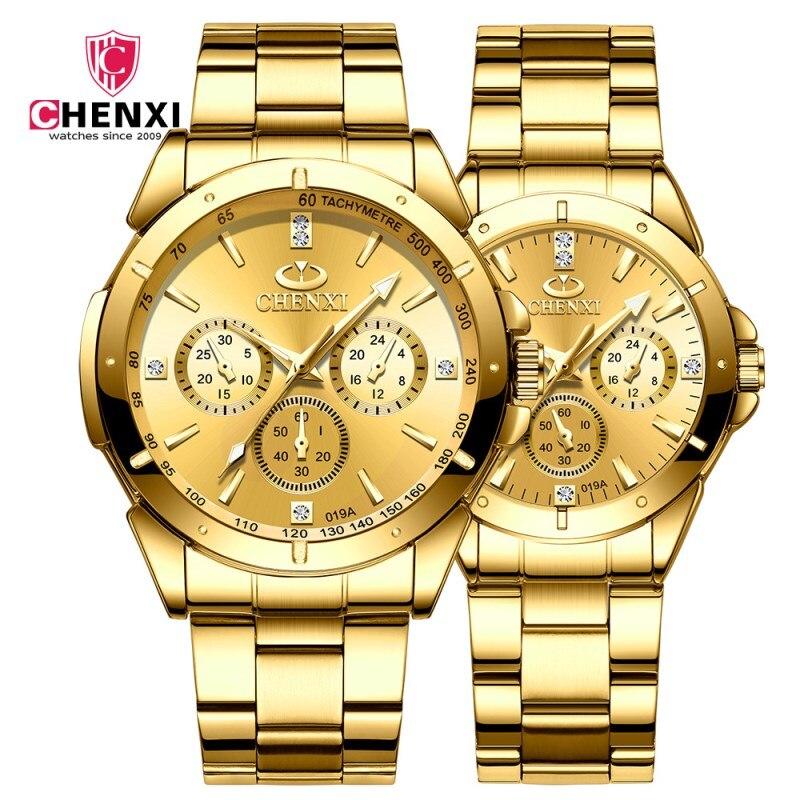 CHENXI Lover's Quartz Watches Women Men Business Gold Wrist Watches Top Brand Luxury Waterproof Clock Watch Golden Steel Watches