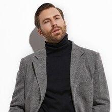 2020 Tweed Phủ Ngoài Rộng Màu Xám Sừng Trâu Áo Dài Phối Tự Làm Mùa Đông Ấm Áp Mùa Thu Áo Khoác Dài, Manteau Homme Fasion Thiết Kế