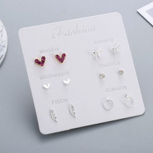 6 Pairs/set One Week Stud Earrings Set For Women 2019 Fashion Red Crystal Heart Round Bow Leaf Silver Earring Mixed Girl Jewelry 6 pairs set a week earrings 2019 cute silver stud earrings set for women fashion stars heart crystal earring girls kids jewelry