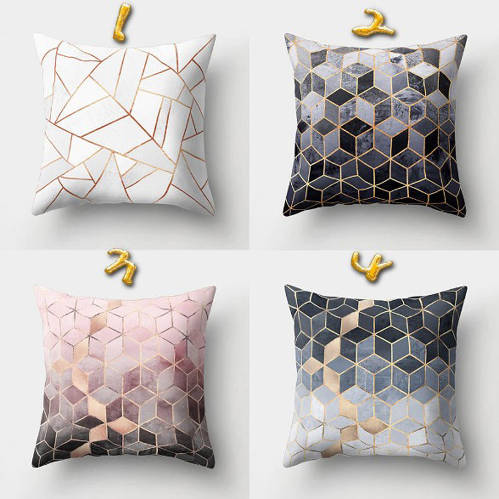 Pillow-Cases Cushion-Cover Decorative Sofa Polyester Throw Black Nordic-Style Home Geometric