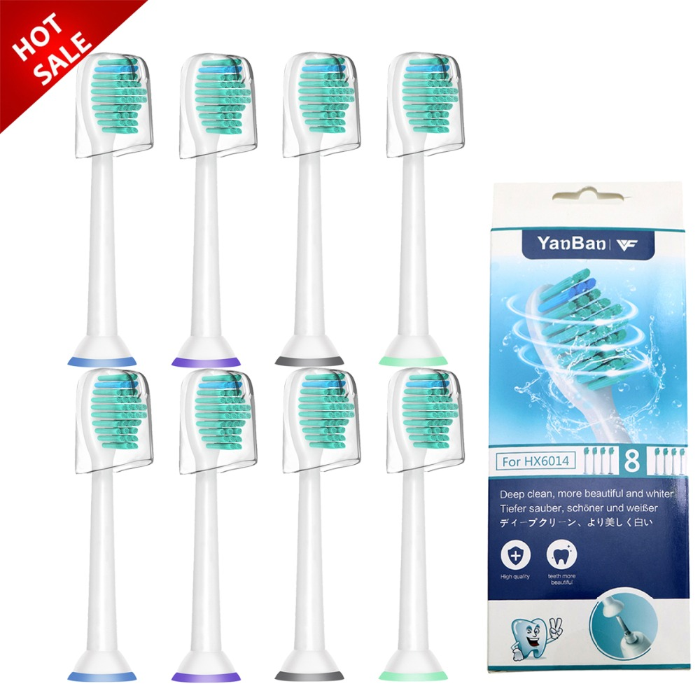 8pcs/lot Replacement Toothbrush Heads With Cap For Philips Sonicare HX6530 HX9340 HX6930 HX6710 HX9140 HX6921 HX6930 HX6932