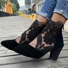 Fashion Women High Heels Lace Flower Ankle Strap Hollow Out Sandals Round Toe Zip Pumps Zapatos De Mujer Plataforma
