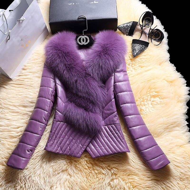 Natural Fox Fur Collar Genuine Leather Jacket Women Winter White Duck Down Jacket Real Sheepskin Coat Female Outwear 523