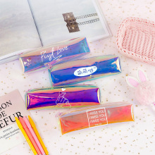 Creative new laser colorful octagonal pencil case girl heart multifunctional storage bag transparent
