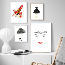 Lipstick Fashion Girl Princess Dress High Heels Wall Art Canvas Painting Nordic Posters And Prints Pictures For Living Room
