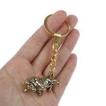 Bullfighting Key Ring Pendant Vintage Copper Lucky Bull Keychain Charm Chinese Feng Shui Hanging Jewelry Decor(China)