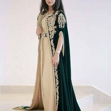 Evening-Dresses Kaftan Abaya Appliques Arabic Two-Pieces Party with Jacket Moroccan XD-182