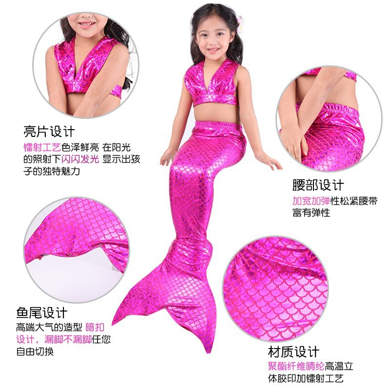 Children Mermaid Tail Princess Dress Mermaid Swimsuit Really GIRL'S Child Small Mermaid Clothes Set