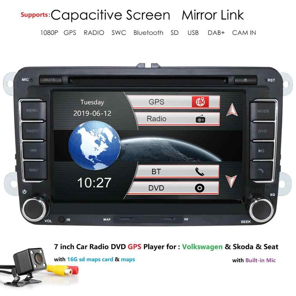 Hizpo reprodutor multimídia Carro Autoradio GPS automotivo 2 Din Para Skoda/Octavia/Fabia/Rapid/Yeti/ superb/VW/Seat car dvd player dab +