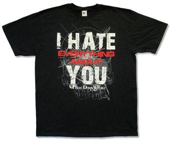 "Tres días GRACE ""HATE"" camiseta negra nueva Oficial adulto todo sobre ti"