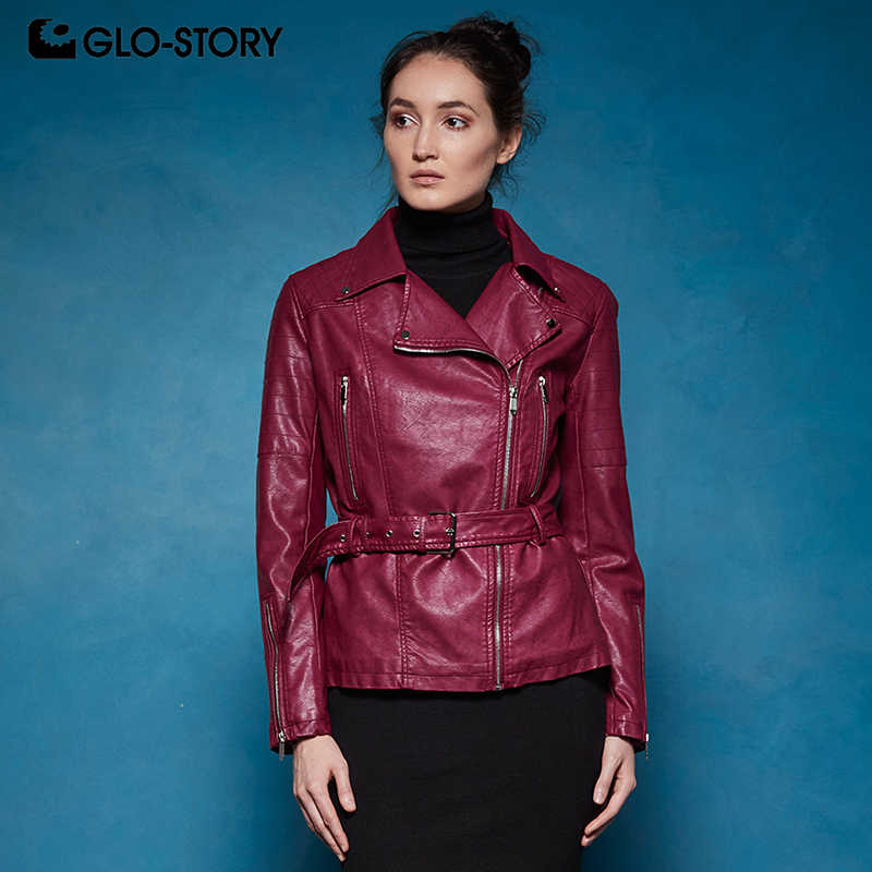 GLO-STORY European High Quality Women's Wool Liner Winter Thick Warm PU Leather Jackets Coats Woman Slim Fit Coats with Sashas