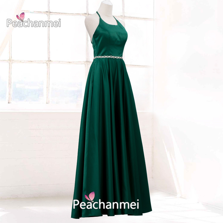 Formal Evening Dress Long Beaded Robe De Soiree Prom Dresses 2020 Halter Top Elegant Sexy Ball Gowns Satin A Line Party Dress