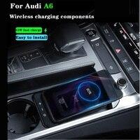 Cargador inalámbrico QI para coche, vaso de agua de teléfono con placa de carga, soporte de carga rápida, 15W, para Audi A6, C8, A7, S6, 2019-2021