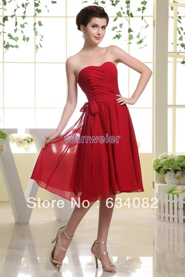 Free Shipping 2015 Short Flowy Chiffon Hts One Pleat Casual Dress For Women Real Photo Vestidos Formales Red Bridesmaid Dresses