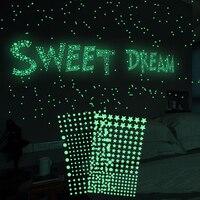 1-202 unids/set 3D de Estrellas luminosas puntos etiqueta de la pared de resplandor en el oscuro para DIY niños bebé Pared de habitaciones calcomanías fluorescente etiqueta engomada