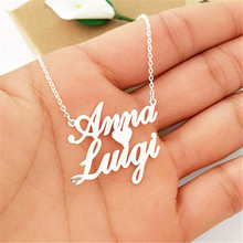 HIYONG Personalized Name Necklace Word Letters Custom Two Necklaces Love Nameplate Pendant Made Any